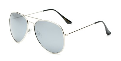 Angle of Nashville #2167 in Silver Frame with Silver Mirrored Lenses, Women's and Men's Aviator Sunglasses