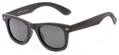 Angle of Randers #3400 in Black Frame with Grey Lenses, Women's and Men's Retro Square Sunglasses