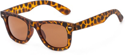 Angle of Randers #3400 in Tortoise Frame with Brown Lenses, Women's and Men's Retro Square Sunglasses