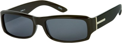Angle of SW Classic Style #5588 in Black Frame with Grey Lenses, Women's and Men's