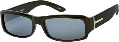 Angle of SW Classic Style #5588 in Black Frame with Smoke Lenses, Women's and Men's