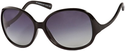 Angle of Scout #4265 in Black Frame with Smoke Lenses, Women's and Men's Round Sunglasses