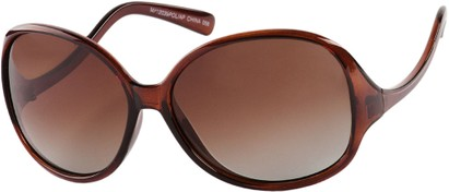 Angle of Scout #4265 in Brown Frame with Amber Lenses, Women's and Men's Round Sunglasses