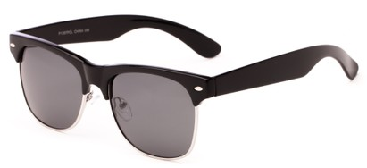 Angle of Trigger #1937 in Black/Silver Frame with Grey Lenses, Women's and Men's Browline Sunglasses