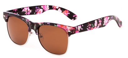 Angle of Trigger #1937 in Pink Floral/Silver Frame with Amber Lenses, Women's and Men's Browline Sunglasses