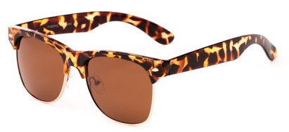Angle of Trigger #1937 in Tortoise/Gold Frame with Amber Lenses, Women's and Men's Browline Sunglasses