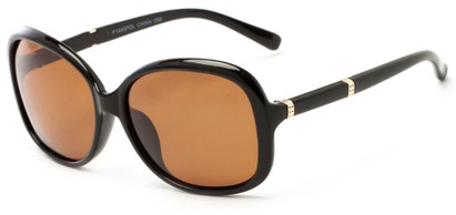 Angle of Helena #1114 in Black Frame with Amber Lenses, Women's Round Sunglasses