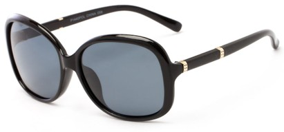 Angle of Helena #1114 in Black Frame with Grey Lenses, Women's Round Sunglasses