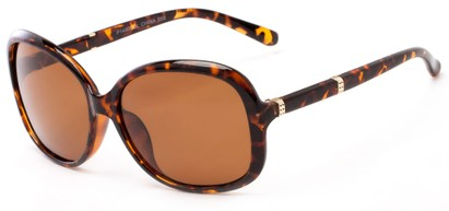Angle of Helena #1114 in Tortoise Frame with Amber Lenses, Women's Round Sunglasses