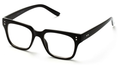 Angle of SW Clear Retro Style #1464 in Black Frame with Clear Lenses, Women's and Men's