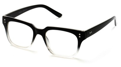 Angle of SW Clear Retro Style #1464 in Black/Clear Frame with Clear Lenses, Women's and Men's