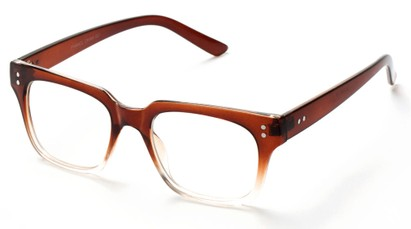 Angle of SW Clear Retro Style #1464 in Brown/Clear Frame with Clear Lenses, Women's and Men's