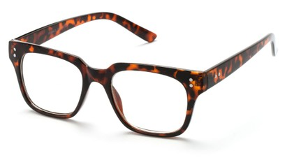 Angle of SW Clear Retro Style #1464 in Tortoise Frame with Clear Lenses, Women's and Men's