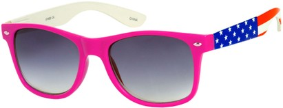 Angle of SW American Flag Retro Style #9234 in Hot Pink Frame with Flag Temples, Women's and Men's