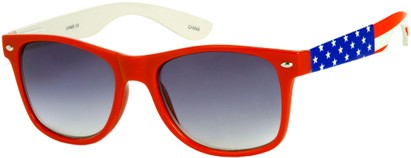 Angle of SW American Flag Retro Style #9234 in Red Frame with Flag Temples, Women's and Men's