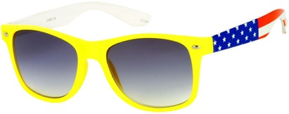 Angle of SW American Flag Retro Style #9234 in Yellow Frame with Flag Temples, Women's and Men's
