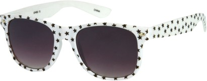Angle of SW Retro Star Style #9907 in White Frame, Women's and Men's