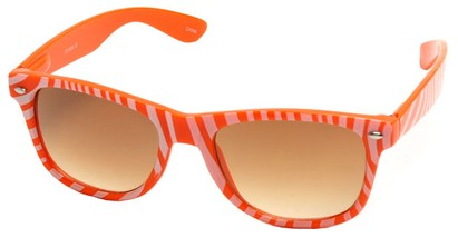 Angle of SW Zebra Style #9750 in Orange Frame with White Stripes, Women's and Men's