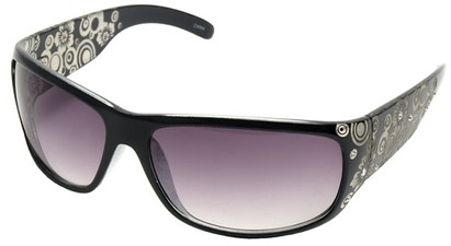 Angle of SW Rhinestone Style #1551 in Black and Clear Frame, Women's and Men's