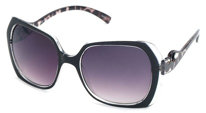 Angle of SW Animal Print Style #1455 in Black Frame, Women's and Men's