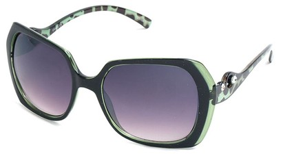 Angle of SW Animal Print Style #1455 in Green Frame, Women's and Men's