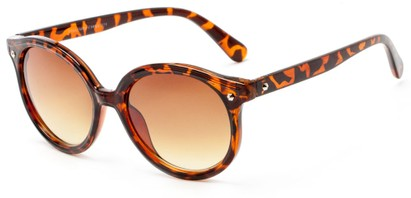 Angle of Wales #1662 in Tortoise Frame with Amber Lenses, Women's Round Sunglasses