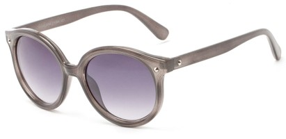 Angle of Wales #1662 in Grey Frame with Smoke Lenses, Women's Round Sunglasses