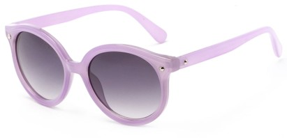 Angle of Wales #1662 in Purple Frame with Smoke Lenses, Women's Round Sunglasses