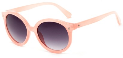 Angle of Wales #1662 in Pink Frame with Smoke Lenses, Women's Round Sunglasses