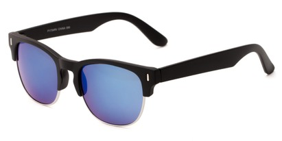 Angle of Tenerife #1734 in Black/Silver Frame with Blue Mirrored Lenses, Women's and Men's Browline Sunglasses