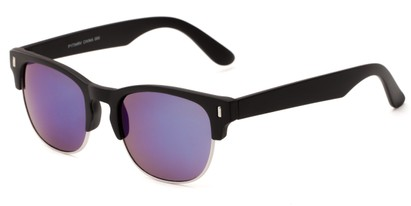 Angle of Tenerife #1734 in Black/Silver Frame with Purple Mirrored Lenses, Women's and Men's Browline Sunglasses