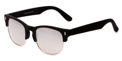 Angle of Tenerife #1734 in Black/Gold Frame with Silver Mirrored Lenses, Women's and Men's Browline Sunglasses