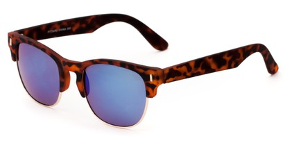 Angle of Tenerife #1734 in Tortoise/Gold Frame with Blue Mirrored Lenses, Women's and Men's Browline Sunglasses