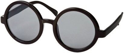 Angle of SW Round Style #1213 in Glossy Black Frame, Women's and Men's