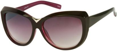 Angle of SW Oversized Cat Eye Style #9259 in Black/Purple Frame, Women's and Men's