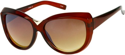 Angle of SW Oversized Cat Eye Style #9259 in Brown Frame, Women's and Men's