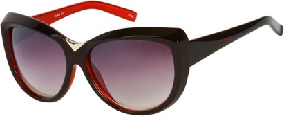 Angle of SW Oversized Cat Eye Style #9259 in Black/Red Frame, Women's and Men's
