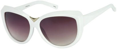 Angle of SW Oversized Cat Eye Style #9259 in White Frame, Women's and Men's