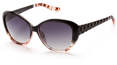 Angle of Edinburgh #1901 in Black/Pink Frame with Smoke Lenses, Women's Cat Eye Sunglasses