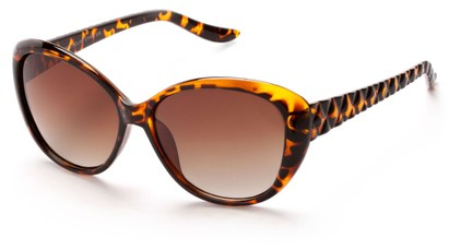 Angle of Edinburgh #1901 in Tortoise Frame with Amber Lenses, Women's Cat Eye Sunglasses