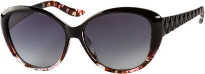 Angle of Marbella #4272 in Black/Floral Fade Frame with Smoke Lenses, Women's Round Sunglasses