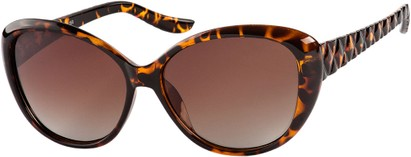 Angle of Marbella #4272 in Tortoise Frame with Amber Lenses, Women's Round Sunglasses