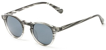 Angle of Benbrook #2513 in Black/Clear Stripe Frame with Grey Lenses, Women's and Men's Round Sunglasses