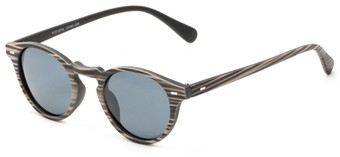 Angle of Benbrook #2513 in Black/Tan Stripe Frame with Grey Lenses, Women's and Men's Round Sunglasses