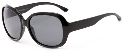Angle of Teno #2750 in Black Frame with Grey Lenses, Women's Square Sunglasses