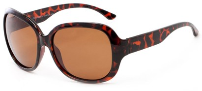 Angle of Teno #2750 in Tortoise Frame with Brown Lenses, Women's Square Sunglasses