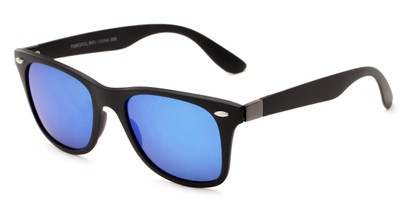 Angle of Waikiki #2803 in Black Frame with Blue Mirrored Lenses, Women's and Men's Retro Square Sunglasses