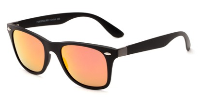 Angle of Waikiki #2803 in Black Frame with Orange Mirrored Lenses, Women's and Men's Retro Square Sunglasses