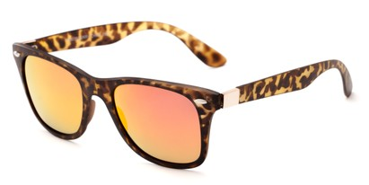 Angle of Waikiki #2803 in Tortoise Frame with Orange Mirrored Lenses, Women's and Men's Retro Square Sunglasses