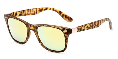 Angle of Waikiki #2803 in Tortoise Frame with Yellow Mirrored Lenses, Women's and Men's Retro Square Sunglasses